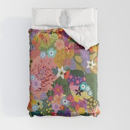 Colorful Flower & Foliage Pattern Comforters