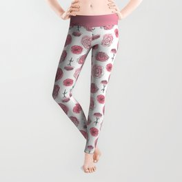 Pink Carnation Pattern Leggings