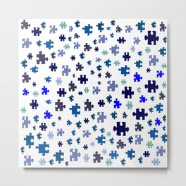 Jigsaw pieces of bluish colors. Metal Print