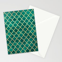 Moroccan Teal Green Gold Quatrefoil Art Deco Pattern Stationery Cards
