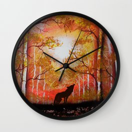 Howling Into The Woods Wall Clock