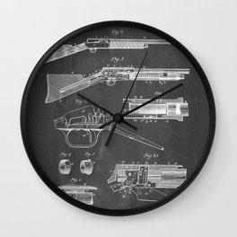 Automatic Rifle Patent - Browning Rifle Art - Black Chalkboard Wall Clock