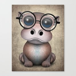 Cute Nerdy Baby Hippo Wearing Glasses Canvas Print