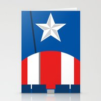 avenger Stationery Cards featuring Cap. America Avenger  - Minimalist by Sterling Arts & Design