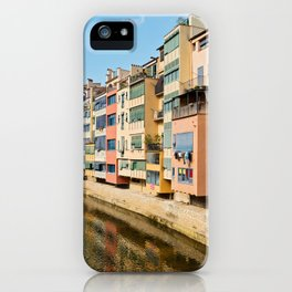 Colorful houses and reflected in water in Girona iPhone Case