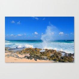 Cozumel teal water ocean crash wave water spout Canvas Print