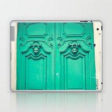 Paris door, turquoise Laptop & iPad Skin