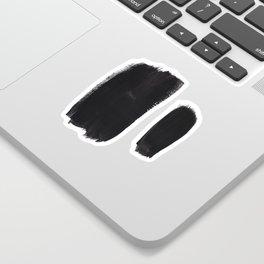 Black And White Minimalist Mid Century Abstract Ink Art Minimal Brush Strokes Black Color Block Sticker