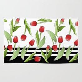 Modern Vintage Red Tulip Floral Patten Rug