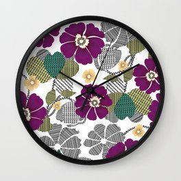The repeat design / flower and geometric design illustration Wall Clock