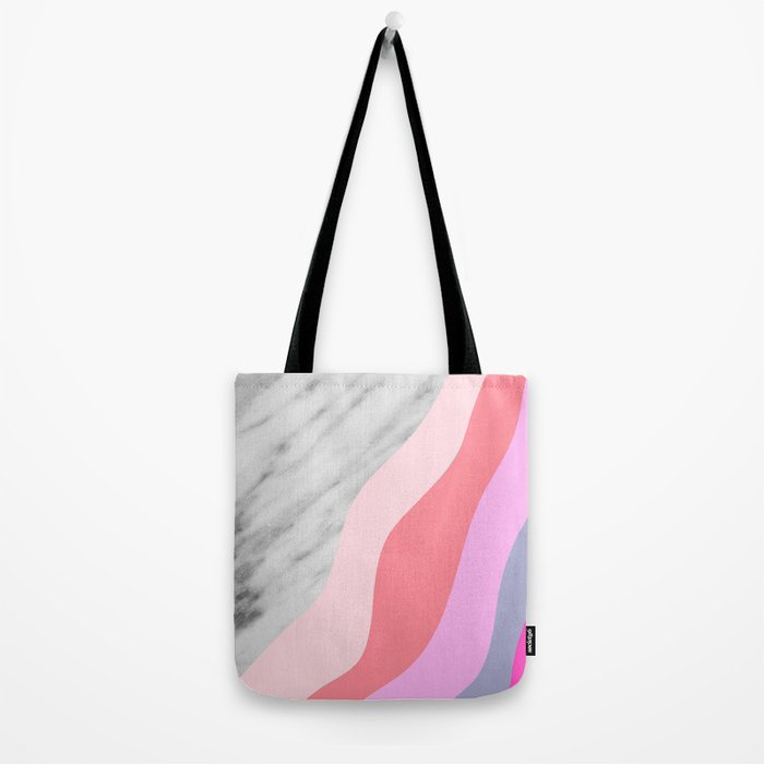 Carrara Italian Marble with Pink Shadows Tote Bag