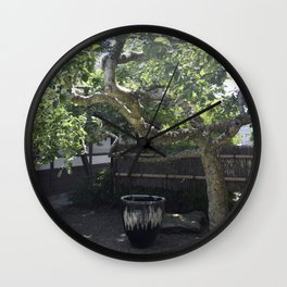 Japanese Pottery Under A Green Apple Tree Wall Clock