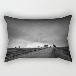 Down the Road - Colorful Rainbow Under Storm Clouds Down Dirt Road in Kansas Rectangular Pillow