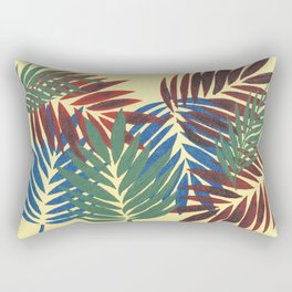 Palm Leaves in Red, Blue and Green Rectangular Pillow