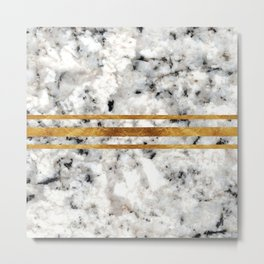 Classic Marble with Gold Racing Stripes Metal Print