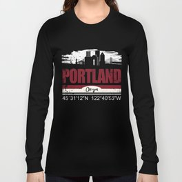Portland Oregon Cool City shirt With GPS Coordinates Long Sleeve T-shirt