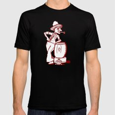 Pensive hillbilly with nunchuks and moonshine SMALL Black Mens Fitted Tee