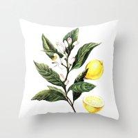 lemon Throw Pillows featuring Lemon by Anna Yudina