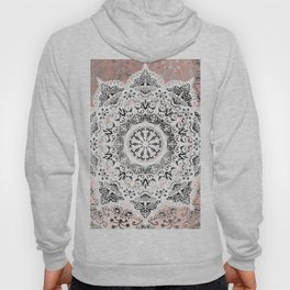 Dreamer Mandala White On Rose Gold Hoody
