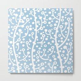 Mid Century Modern Spring Blossoms Pale Blue Metal Print