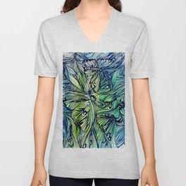 Blue Pen & Ink Butterflies Unisex V-Neck