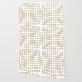 Linen Cream Checked Pattern Wallpaper