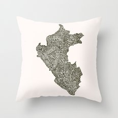 Lettering map of Perú Throw Pillow