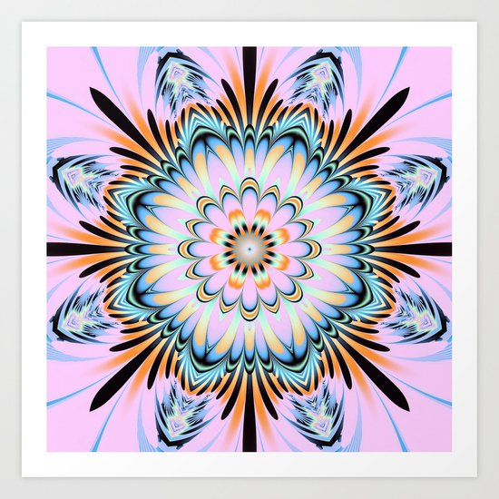 Decorative fantasy flower with a pastels heart Art Print
