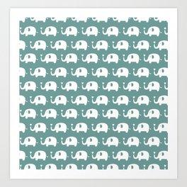 Elephants in love (turquoise) Art Print