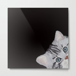Hi! Sneaky Cat Metal Print