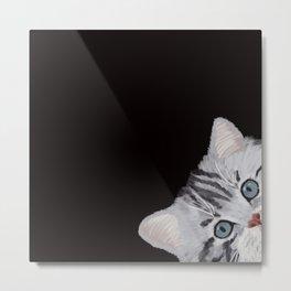 Hi! Sneaky Cat Metal Print