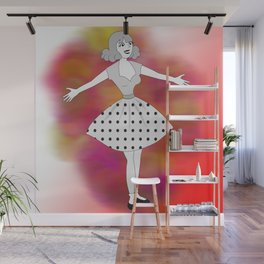 Retro welcoming cartoon girl Wall Mural