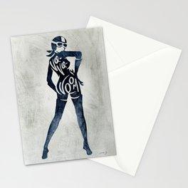 "Va-Va-Voom ""Jane"" Motorcycle Pin Up Girl Stationery Cards"