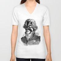 wrestling V-neck T-shirts featuring WRESTLING MASK 11 by DIVIDUS