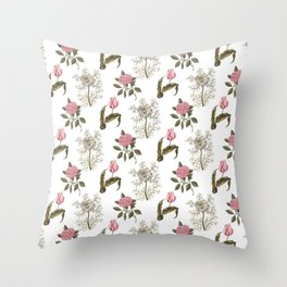 Pink and White Vintage Floral Pattern Throw Pillow
