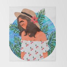 Cabana Girl Throw Blanket
