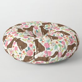 Labrador Retriever florals chocolate lab cute pet gifts must have labrador florals Floor Pillow
