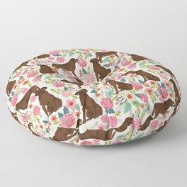 Labrador Retriever florals chocolate lab cute pet gifts must have labrador florals Floor Pillow