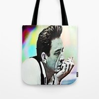 johnny cash Tote Bags featuring Johnny Cash  by Enna