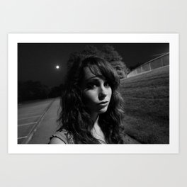 The Girl & The Moon Art Print