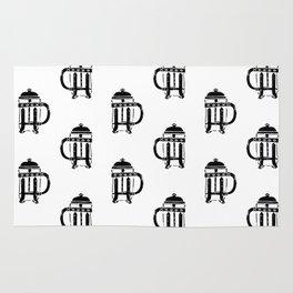 French Press linocut black and white pattern coffee art kitchen pattern art Rug