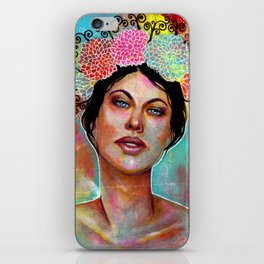 Flower Rainbow Girl in Mixed Media iPhone Skin