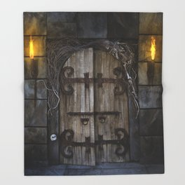 Gothic Spooky Door Throw Blanket
