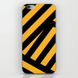 Black and yellow abstract striped iPhone Skin