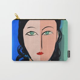 Portrait expressionist of a girl with turquoise eyes Carry-All Pouch