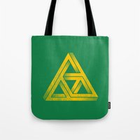 triforce Tote Bags featuring Penrose Triforce by Quick Brown Fox