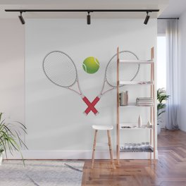 Tennis ball with rackets Wall Mural