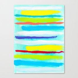 Ocean Blue Summer blue abstract painting stripes pattern beach tropical holiday california hawaii Canvas Print
