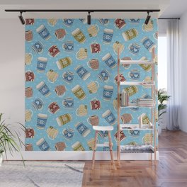 Cozy Mugs - Bg Blue Wood Wall Mural