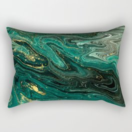 Abstract Pour Painting Liquid Marble Dark Green Teal Painting Gold Accent Rectangular Pillow